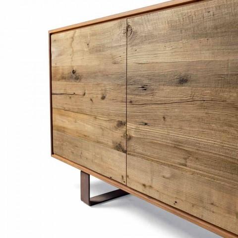 sideboard contemporan cu 3 usi nuc natural, L 215 x W 50 cm, Flora