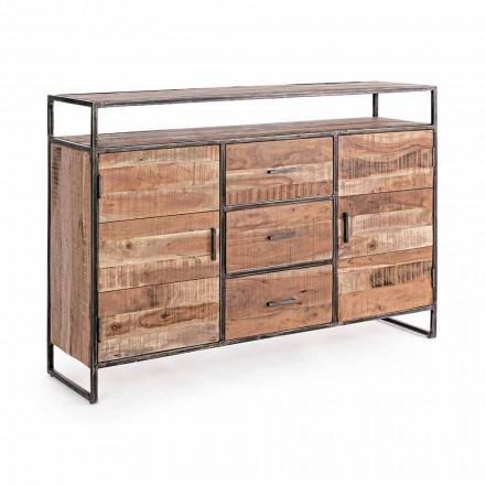 Buffet modern cu structură din lemn de salcâm și oțel Homemotion - Posta