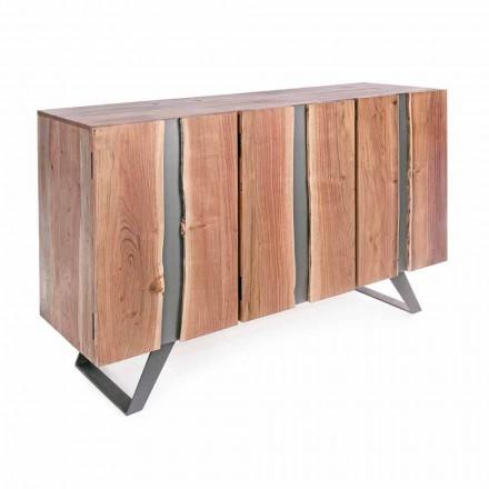 Buffet modern din lemn de salcâm cu inserții metalice Homemotion - Sonia