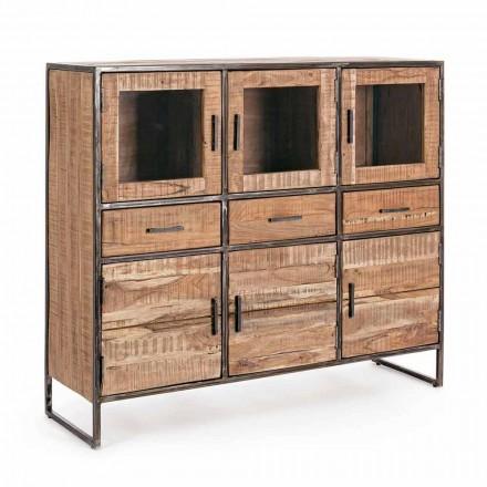 Buffet stil industrial din lemn de salcâm și oțel Homemotion - Zompo