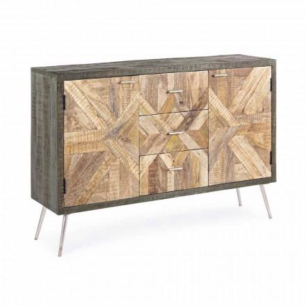 Buffet în stil vintage cu structură din lemn și detalii din oțel - Adiva