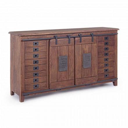Buffet în stil vintage din lemn și MDF cu inserții din oțel Homemotion - Pablo