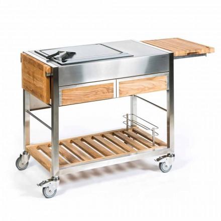 Bucătărie în aer liber pe roți din oțel și lemn cu Teppanyaki - Buoncalliope