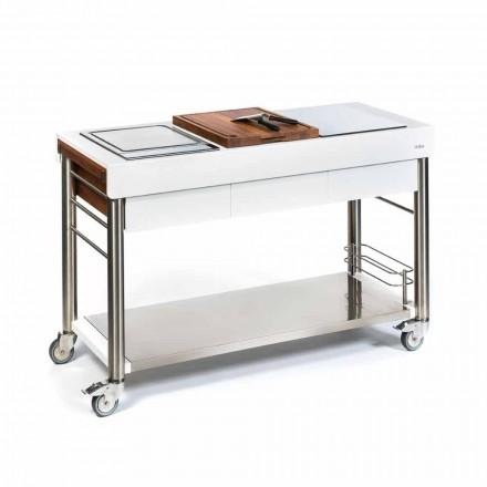 Bucătărie în aer liber pe roți de design, de înaltă calitate în lemn și oțel - Calliope