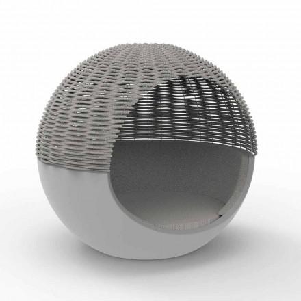 Design de pat rotund de lux pentru grădină cu frânghie împletită - Ulm Moon de Vondom