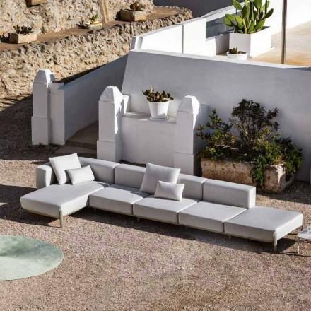 Canapea de exterior cu 3 locuri din aluminiu cu puf și șezlong - Filomena