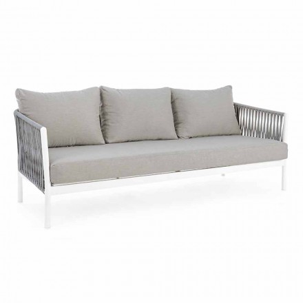 Homemotion - Canapea de exterior Rubio 3 locuri design alb și gri