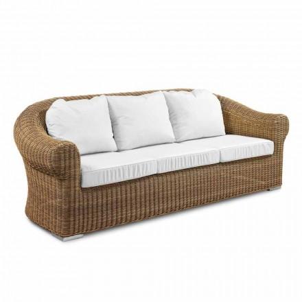 Canapea în aer liber cu 3 locuri în rattan sintetic și țesătură albă sau ecru - Yves