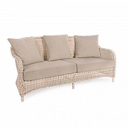 Canapea de grădină cu 3 locuri în fibra de țesătură de design de casă - Casimiro