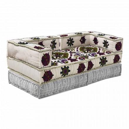 Canapea cu două locuri design etnic în material patchwork - fibră