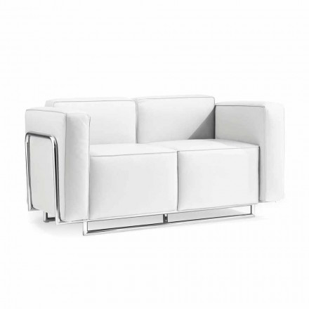 Canapea cu doua locuri moderne în alb din piele faux și piese cromate Bugle