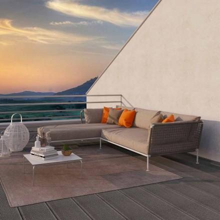 Canapea din colț exterior de design modern, din material textil gri sau alb - Ontario3