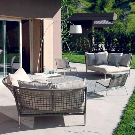 Canapea de grădină circulară de culoare gri Dove făcută în design italian - Ontario4