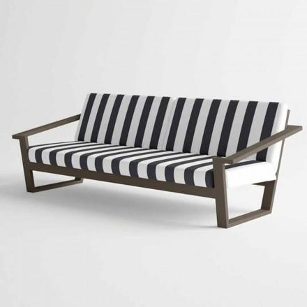 Canapea exterioară cu 2 sau 3 locuri în design modern din aluminiu și țesătură - Louisiana