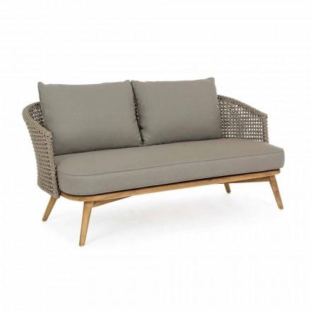 Canapea exterioară cu 2 sau 3 scaune din lemn și țesătură de casă gri-porumbel - Luana