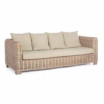 Homemotion - Canapea exterioară Design Ceara cu 3 locuri din lemn și ratan