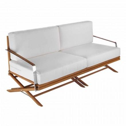 Canapea de exterior cu 3 locuri din lemn natural sau țesătură neagră și de lux - Suzana