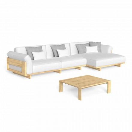 Lounge în aer liber cu canapea de lux din lemn și măsuță de cafea - Argo by Talenti