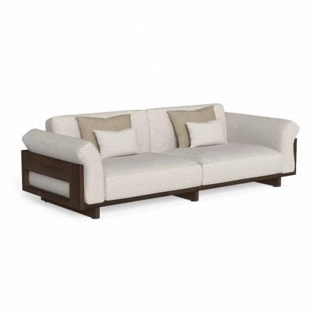 Canapea de exterior tapițată în țesături și lemn prețios Accoya - Argo by Talenti
