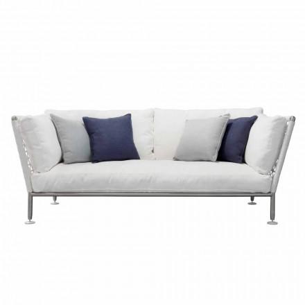 Canapea exterioară din oțel și perne albe din PVC împletite - Ontario6