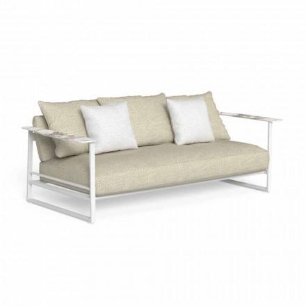 Canapea de exterior din aluminiu, țesătură și cotiere în Gres - Riviera by Talenti