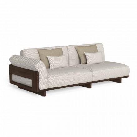 Canapea modulară în aer liber, design din lemn prețios Accoya - Argo by Talenti