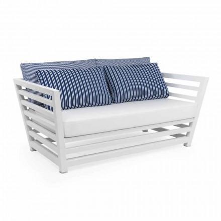 Canapea de gradina cu 2 locuri din aluminiu de design alb sau negru - Cynthia