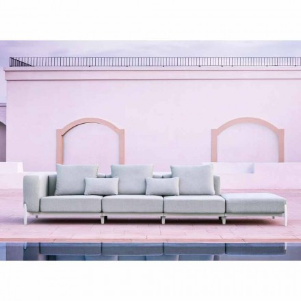 Canapea de grădină cu 3 locuri cu puf de lux din aluminiu și țesătură - Filomena