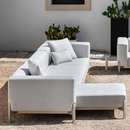 Canapea de grădină cu 3 locuri cu șezlong din aluminiu și țesătură - Filomena