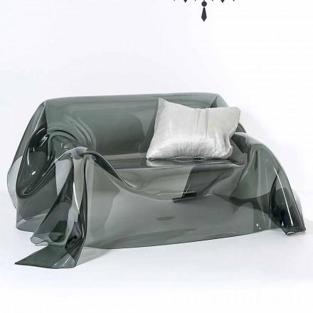 Canapea cu un design modern, în Jolly afumat plexiglas, made in Italy