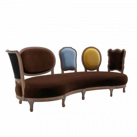 Canapea de design de lux, 5 spate din lemn masiv, made in Italy, Manno