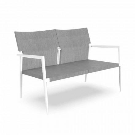 Canapea de grădină cu două locuri din aluminiu și textilenă - Adam by Talenti