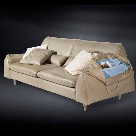 din lemn masiv si canapea de piele cu cotiere Eva pentru obiecte