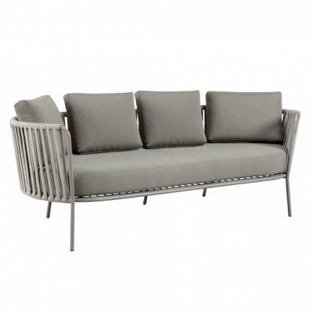 Canapea exterioară cu 3 locuri din metal, funie și țesătură realizată în Italia - Mari