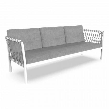 Canapea de grădină modernă cu trei locuri din aluminiu și țesătură - Sofy by Talenti