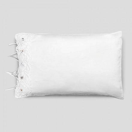 Fata de perna din lenjerie de pat cu dantela alba, design de lux Made in Italy - Kiss