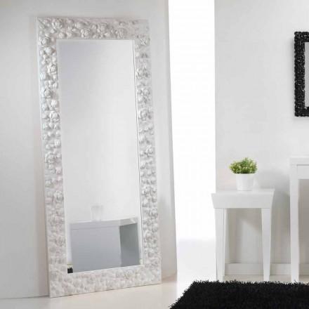 Mare alb oglinda podea / perete, cu lemn rama de flori