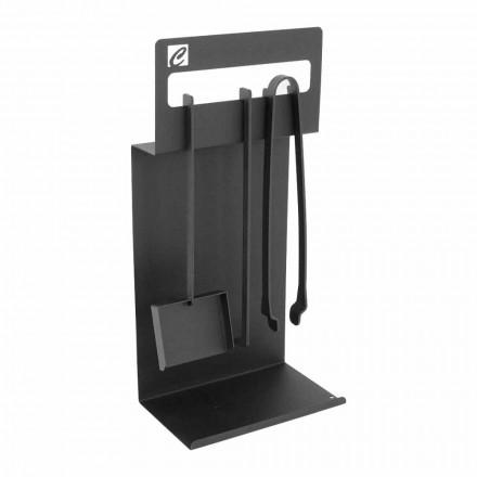 Set de instrumente de design pentru șemineu din oțel negru fabricat în Italia - Ostro
