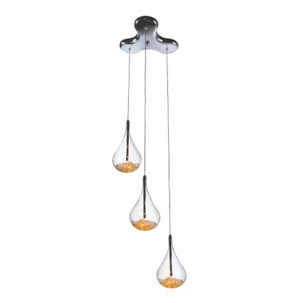 Lampa suspendată cu 3 sau 4 lumini în sticlă borosilicată și metal - pere