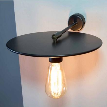 Lampă de perete fabricată manual din fier negru sau finisaj Corten Made in Italy - Ufo