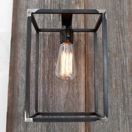 Lampă de perete realizată manual cu structură de fier negru Fabricată în Italia - Cubola