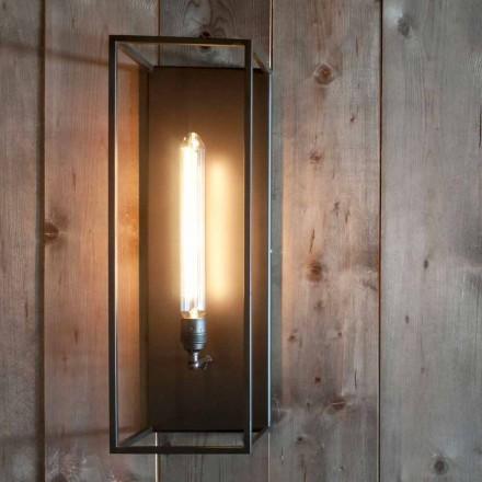 Lampă de perete fabricată manual cu structură de fier negru Fabricată în Italia - Brina