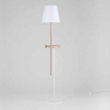 Lampă de podea design din oțel, frasin și alamă Made in Italy - Pitulla