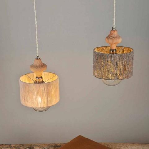 2 lămpi luminoase pendant cu inserție din lemn Bois