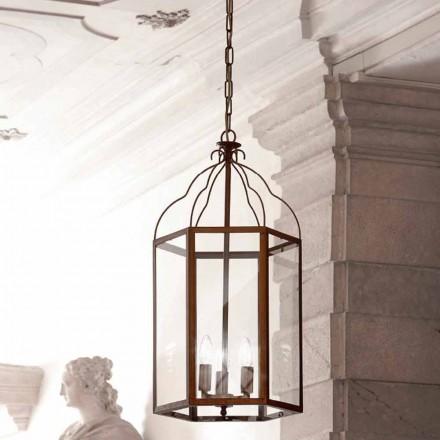 pandantiv lampa 3 lumini de alamă și sticlă Turandot