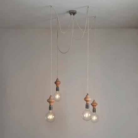 4 lămpi cu pandantiv luminat cu element de lemn Bois