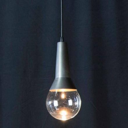 Lampă suspendată manuală din fier negru și sticlă Fabricată în Italia - Suspensie