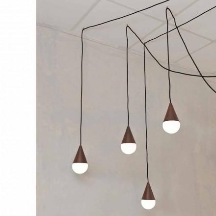 Lampa de design cu 4 luminile Drop, culoarea corten