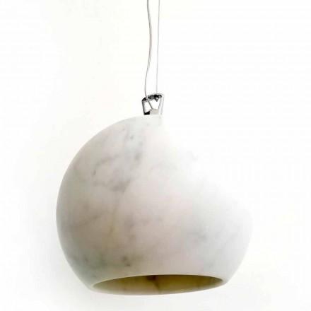 Lampă suspendată design în marmură albă de Carrara Fabricată în Italia - Panda