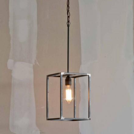 Lampă suspendată din fier, fabricată manual, cu lanț, fabricată în Italia - Cubola